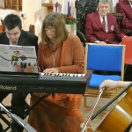 Rhys Williams - Pianist (Crynant) alongside Ruth Tucker of 'Ice Cool Kids' charity